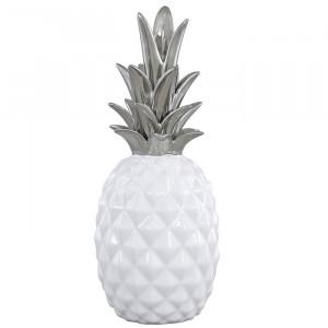 """Decoratiune """"Ananas"""", argintie/alba, 27,5 x 11 x 11 cm"""