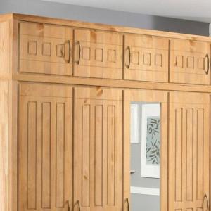 Dulap suspendat Home Affaire, lemn masiv, 5 usi, natur
