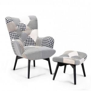 Fotoliu cu scaun pentru picioare Vejle, alb/negru, 81 x 78 x 100 cm