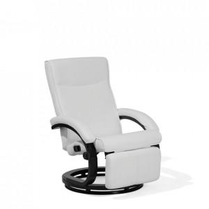 Fotoliu recliner Might din piele ecologică, alb