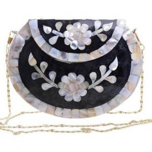 Geantă de umăr Sina cu flori, metal