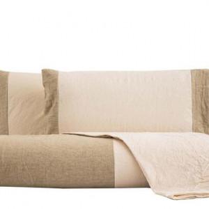 Lenjerie de pat cu husa pentru pilota cu aplicatii Naturale/sabbia, matrimoniala
