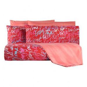 Lenjerie de pat cu husa pentru pilota Words rosie, pentru o persoana