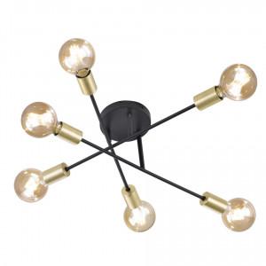 Lustra Cross otel, 6 becuri, negru mat, diametru 55 cm, 230 V