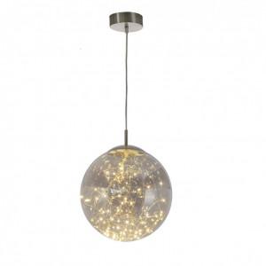 Lustra tip pendul LED Lights sticla, 1 bec, gri, diametru 25 cm, 12 V