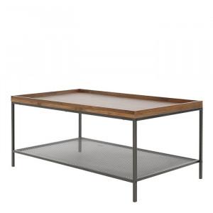 Masa de cafea Alsager, metal/lemn, maro/neagra, 51 x 107 x 61 cm