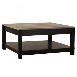 Masa de cafea Callowhill, MDF, negru/ maro, 43 x 90 x 90 cm