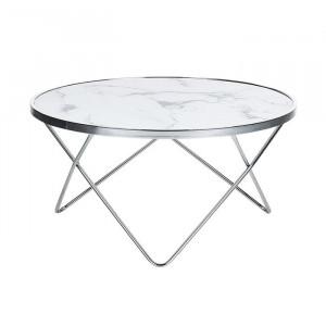 Masa de cafea Colton, metal/sticla, alb/argintie, 40 x 80 x 80 cm