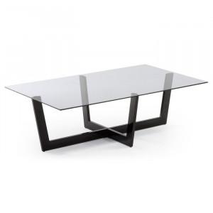 Masa de cafea Kathy, metal/sticla, gri/neagra, 38 x 120 x 70 cm