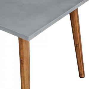 Masa de gradina Broony I beton/salcam masiv, gri/maro, 150 x 75 x 80 cm