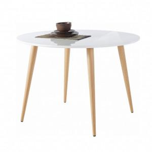 Masa de living rotunda Aspen, MDF/lemn/metal, alb/maro, 110 x 110 x 75 cm