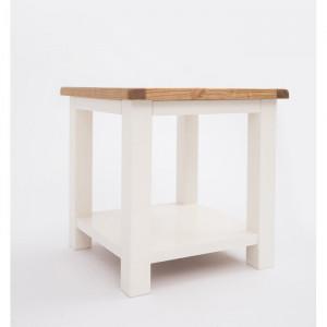 Masa laterală, alba/maro, 53 x 53 x 53 cm