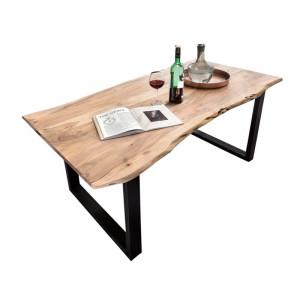 Masa Ryegate, lemn masiv/metal, maro/negru, 220 x 100 x 77 cm