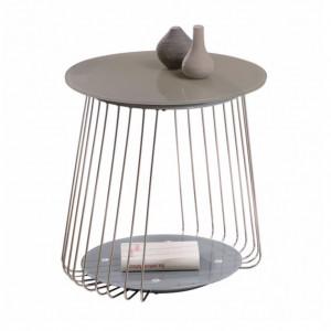 Masuta laterala Bird sticla/metal, gri, diametru 50 cm