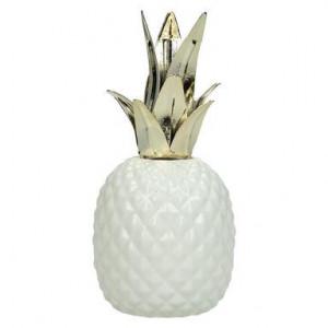 Obiect decorativ Pineapple alb/auriu, inaltime 15cm