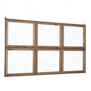 Oglinda de perete Border, lemn de pin si metal