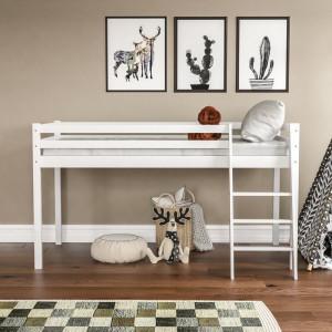 Pat Sydney din lemn masiv, alb, 110 x 197 cm