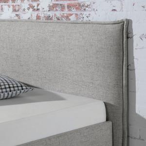 Pat tapitat Kolback material textil/lemn masiv de fag, gri, 200 x 200 cm