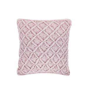 Pernă de bumbac macrame KIZKALESI, roz, 45 x 40 cm