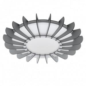 Plafoniera LED Arapiles material pe baza de lemn, 1 bec, gri, diametru 56 cm, 230 V