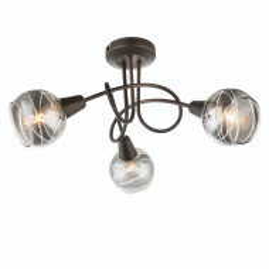 Plafoniera LED Isla I sticla/metal, negru, 3 becuri, diametru 39 cm