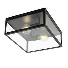 Plafoniera, metal/sticla, neagra, 36 x 16 x 36 cm, 60w