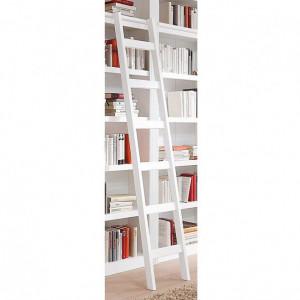 Scara pentru biblioteca, Bilbao, lemn masiv pin, alb