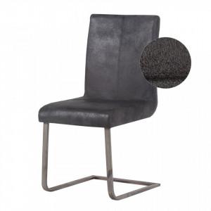 Scaun inalt tapitat Grinberg imitatie piele/otel, negru, 94 x 46 x 57 cm