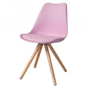 Scaun pentru copii Bergevin, lemn/plastic, roz, 83 x 49 x 17,5 cm