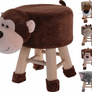 Scaun tapitat pentru copii Karll, Model maimuta, Lemn, Maro