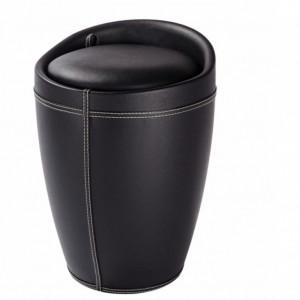 Scaun tip taburet Candy cu capac plastic/piele sintetica, negru, diametru 35,5 cm