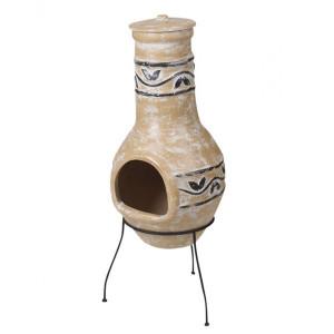 Semineu Karll din ceramica, nisip, 44,5 x 43 x 111 cm