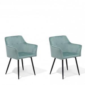 Set 2 scaune Jasmin, catifea, verde mentă, 84 x 60 x 49 cm