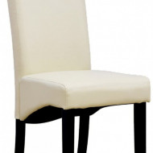 Set de 12 scaune de living Cambridge, piele sintetica crem, picioare lemn inchis