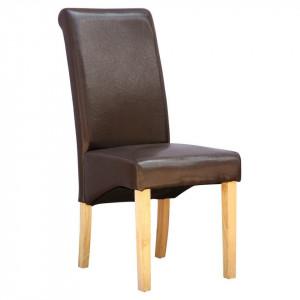 Set de 12 scaune de living Cambridge, piele sintetica maro, picioare lemn natur