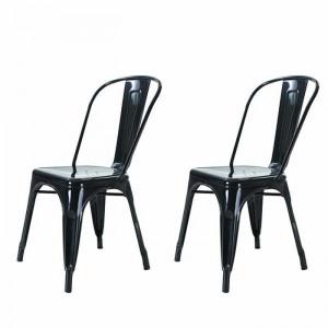 Set de 2 scaune Alsafi, negru, 72 x 40 x 40 cm