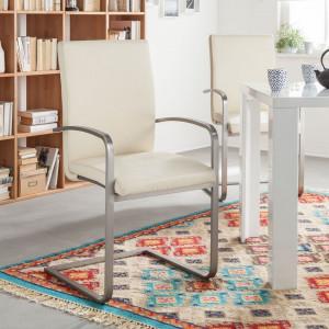 Set de 2 scaune Augusta I din piele naturala, crem