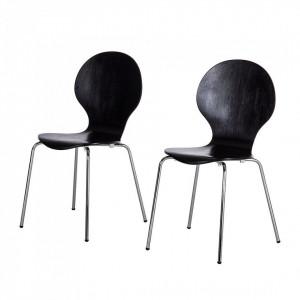 Set de 2 scaune Bristol I furnir/lemn/metal, negru, 47 x 87 x 53 cm
