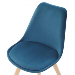 Set de 2 scaune DAKOTA II, catifea, albastru, 47 x 57 x 82 cm