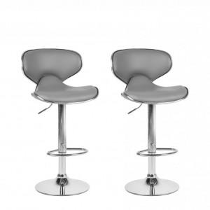 Set de 2 scaune de bar Conway, gri/argintiu, 45 x 35 x 110 cm