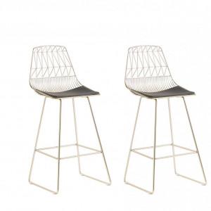 Set de 2 scaune de bar Preston, auriu/negru, 49 x 54 x 113 cm