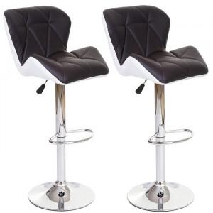 Set de 2 scaune de bar tapitate Stapleton, argintiu/alb/maro, 45 x 50 cm