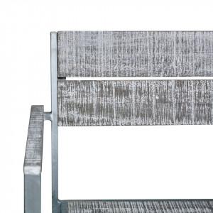 Set de 2 scaune de gradina Connor lemn masiv de salcam/otel, gri, 54 x 78 x 53 cm