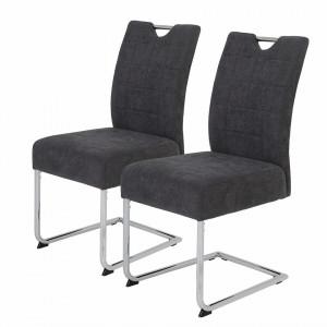 Set de 2 scaune Lopten I tesatura/otel, gri, 44 x 96 x 58 cm