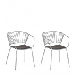 Set de 2 scaune Rigby, metal, argintiu/negru, 54 x 49 x 77 cm