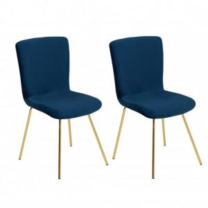 Set de 2 scaune RUBIO, albastru/auriu, 86 x 43 x 34 cm