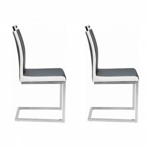 Set de 2 scaune Stella piele sintetica/metal, negru/alb/argintiu, 43 x 59 x 96 cm