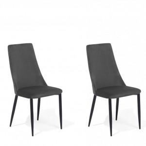 Set de 2 scaune tapitate Clayton, gri/negru, 47 x 58 x 96 cm