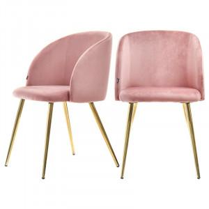 Set de 2 scaune tapitate Gary, roz/auriu, 83 x 55 x 54 cm