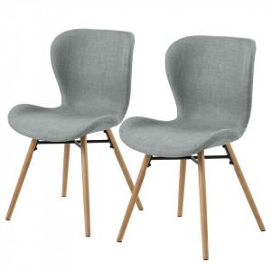 Set de 2 scaune tapitate Livaras tesatura/lemn masiv de fag/metal, gri deschis/maro, 47 x 80 x 55 cm